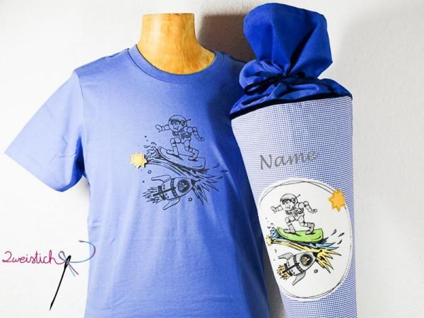 SET: Bio-Kinder-Shirt & Stoffschultüte WELTALL