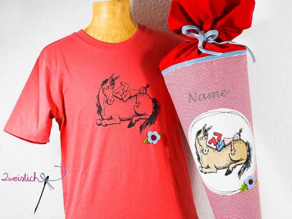 SET: Bio-Kinder-Shirt & Stoffschultüte MEIN PFERDCHEN mit Namen